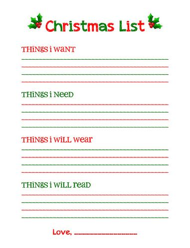 Lovely Christmas Wishlist Form From Overstuffedlife And Christmas Wish List Form