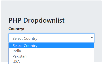 How to populate dropdownlist in php from database