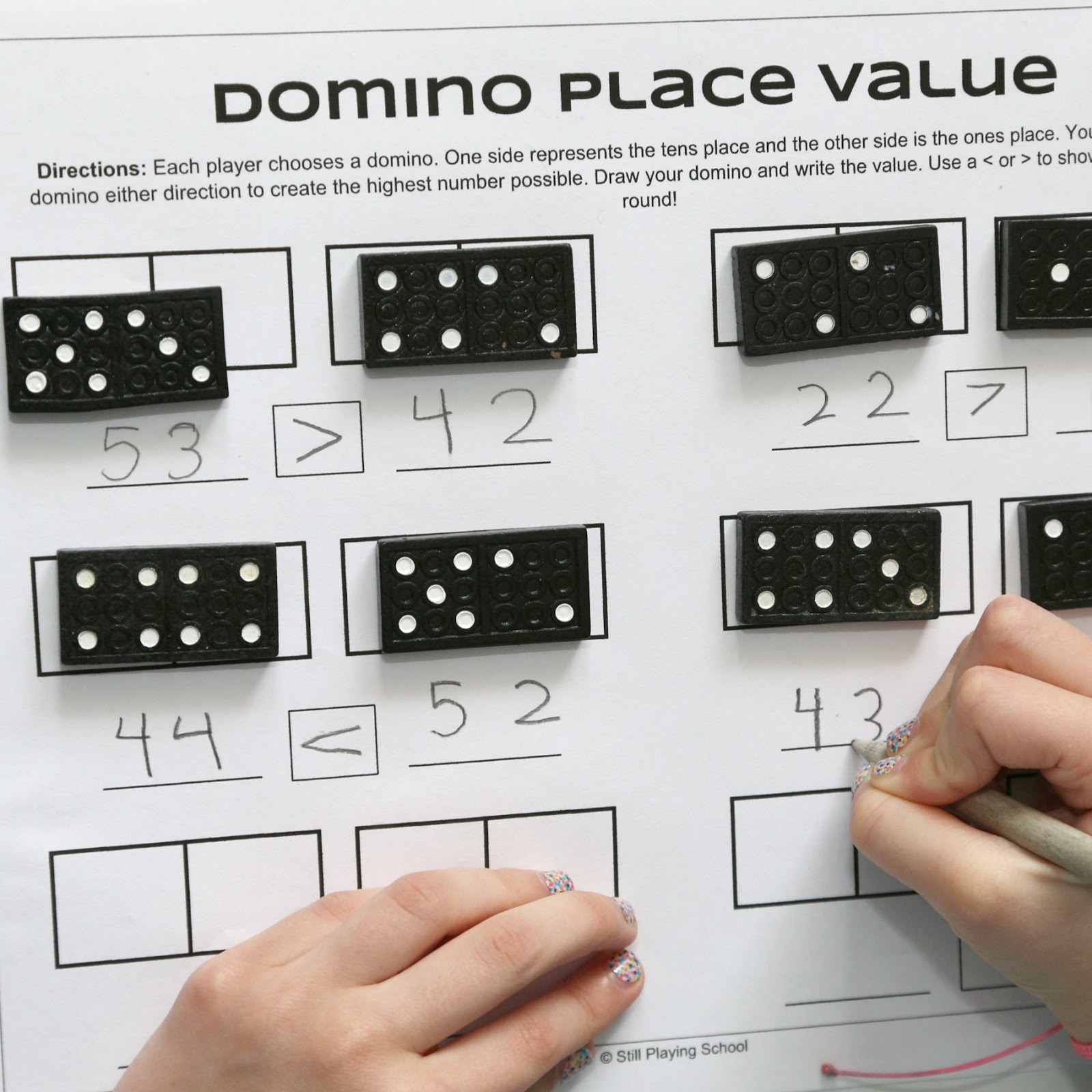 Dominoes Place Value Game for Kids – Dominoes Math Worksheets