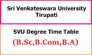 SVU Degree Exam Time Table 2021