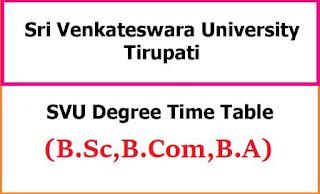 SVU Degree Exam Time Table
