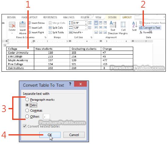 Cara Mengubah Teks Menjadi Tabel Dan Sebaliknya Di Word 2013