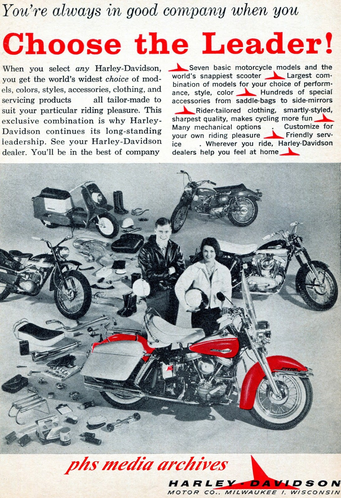 The modern man and woman biker couple as Harley Davidson envisioned them  circa 1963.