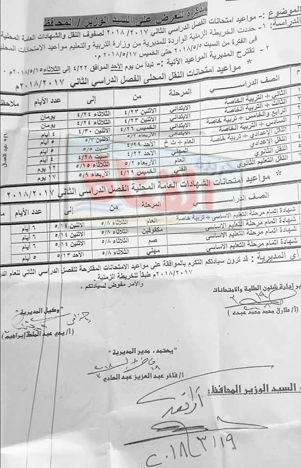 جدول امتحانات الصف الأول الثانوي 2018 الترم الثاني محافظة الاسماعيلية