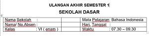 pada huruf jawaban yang kamu anggap benar 40 Soal UAS 1 Bahasa Indonesia Kelas 6 SD MI Dan Kunci Jawaban