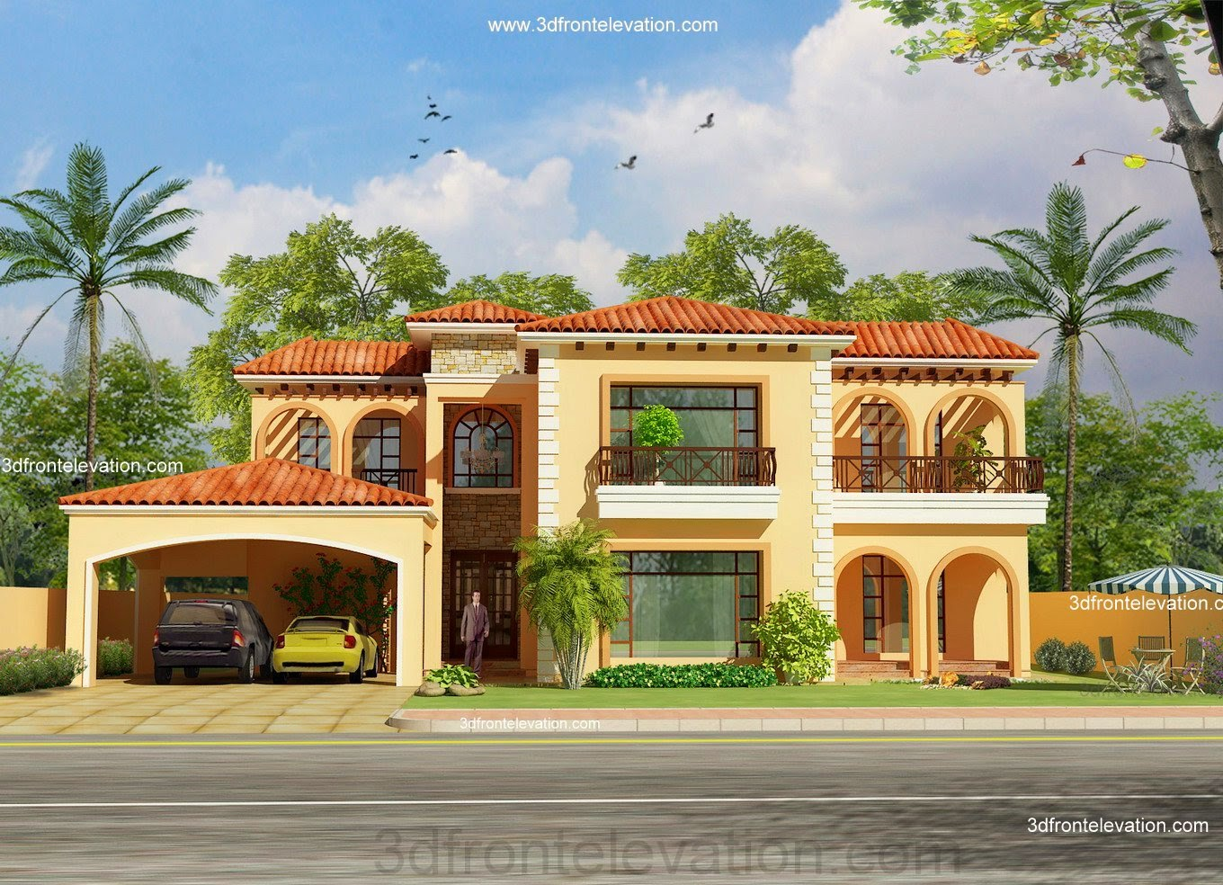 3d front portfolio for Beautiful house design front view