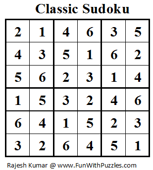 Classic Sudoku (Mini Sudoku Series #14) Solution