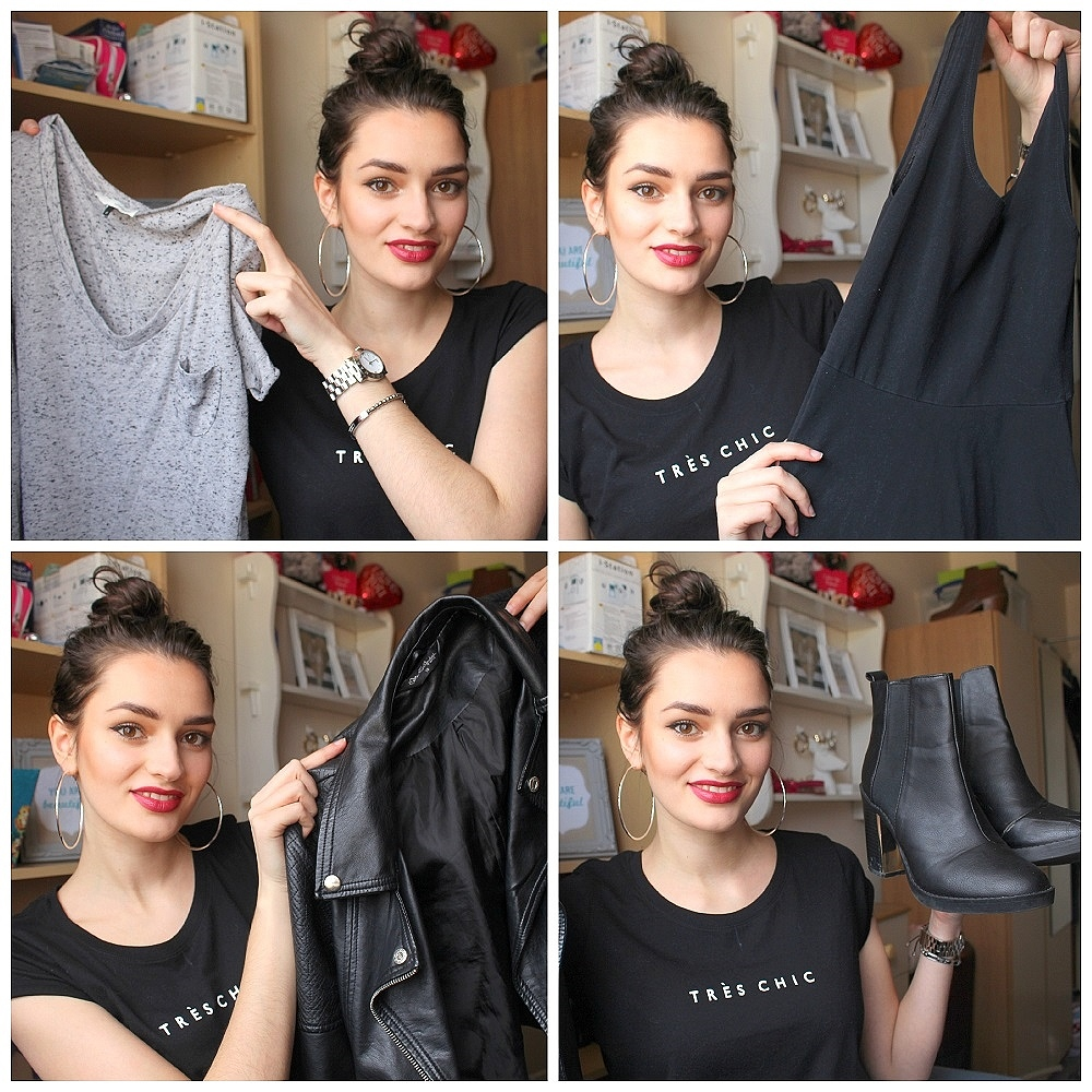 back to basics with 5 wardrobe essentials including a tshirt and leather jacket and little black dress and boots and jeans