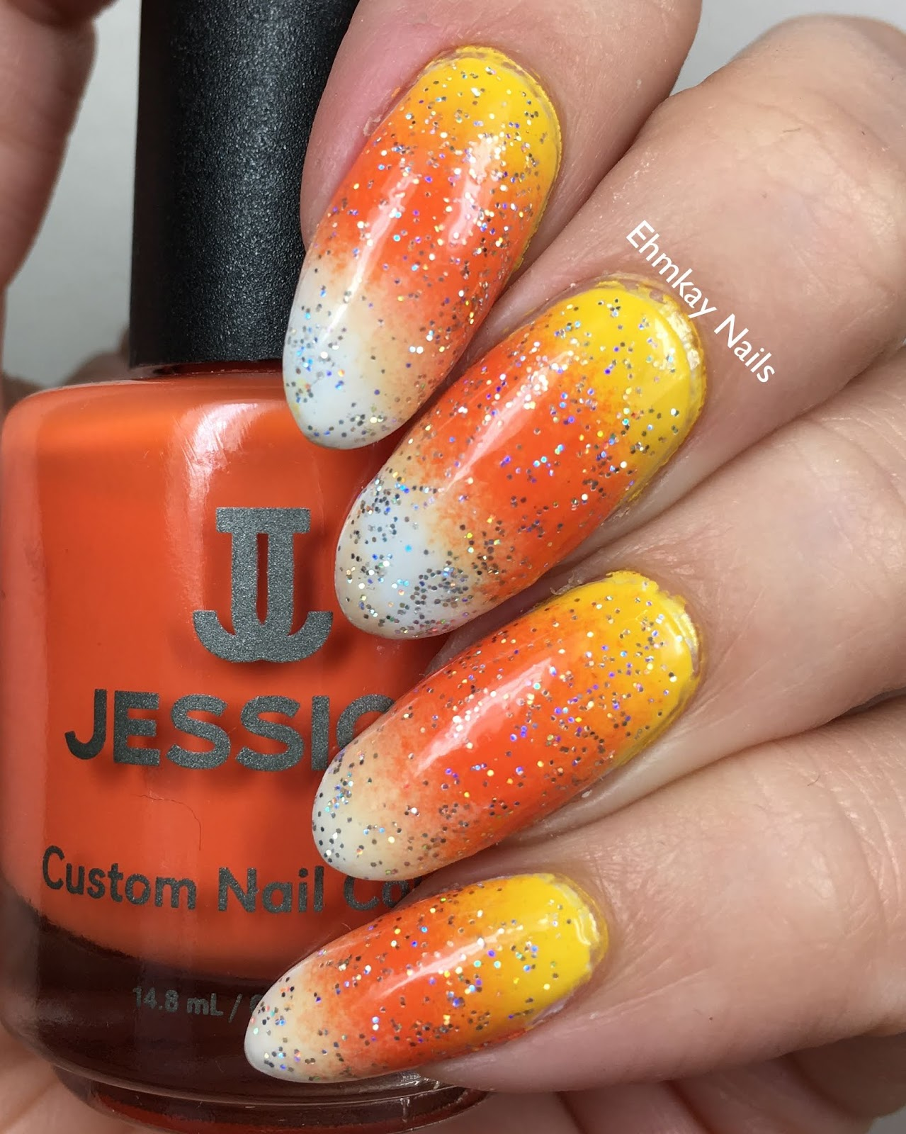 ehmkay nails: 13 Days of Halloween: Candy Corn Nail Art