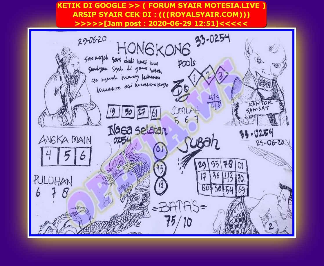 Kode syair Hongkong Senin 29 Juni 2020 54