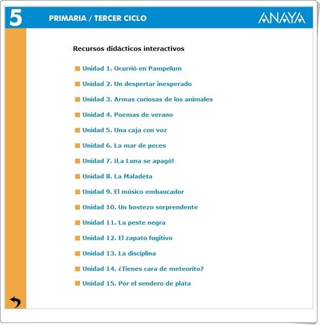 Recursos Didáctico Interactivos Anaya. Lengua Española de 5º de Primaria. (Abre la puerta)