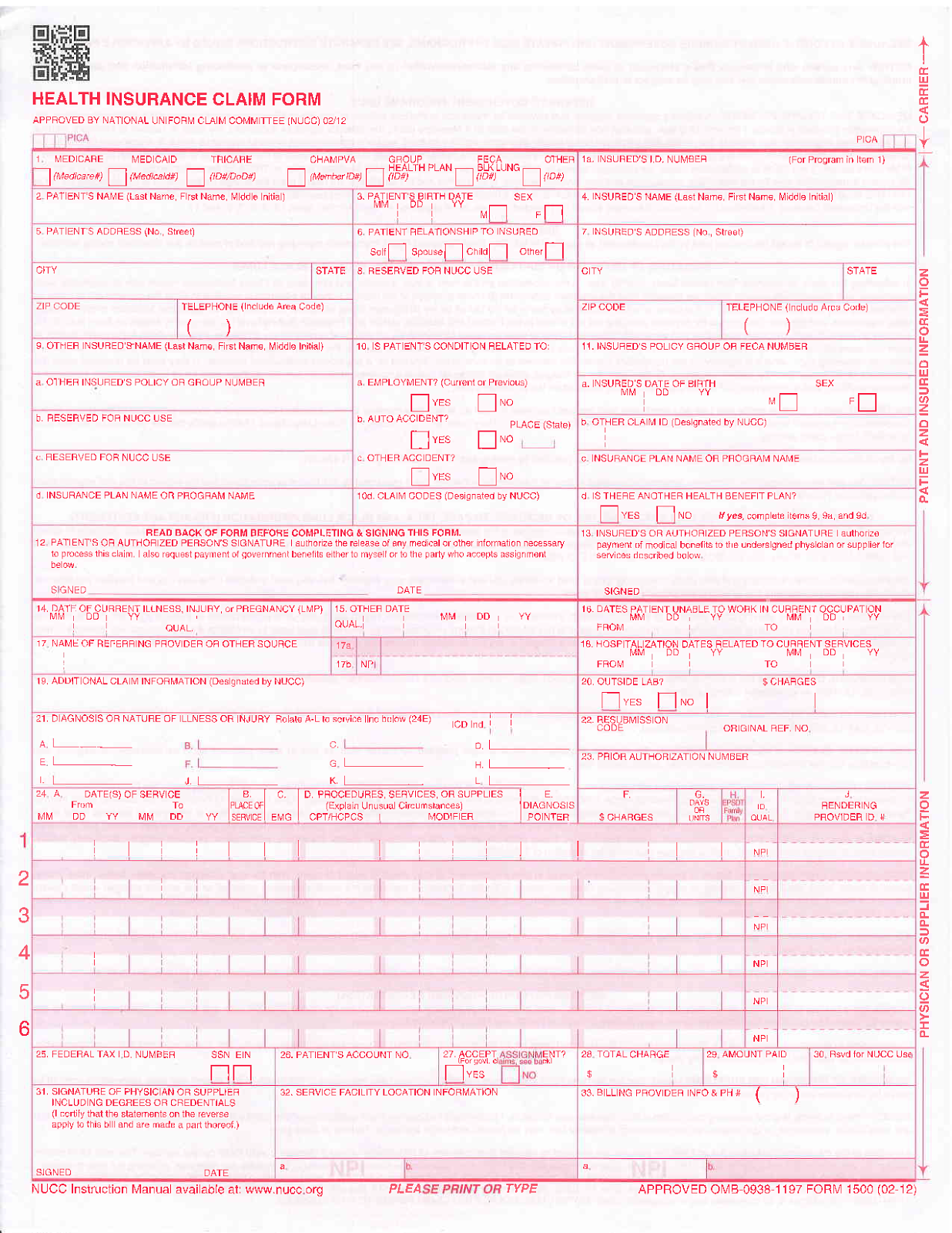 Medical Hcfa 1500 Claim Form Car Interior Design