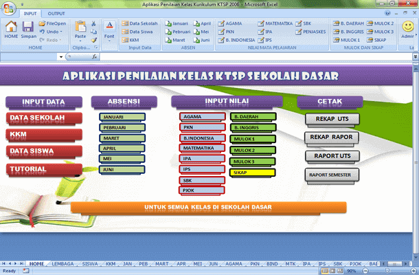 Aplikasi Penilaian Kelas Kurikulum KTSP SD Format Microsoft Excel