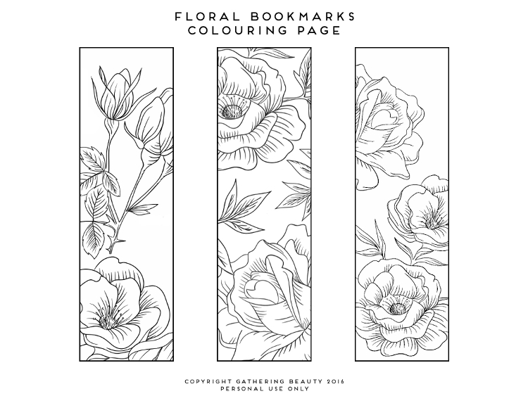 PRINTABLE COLOURING PAGE BOOKMARKS Gathering Beauty