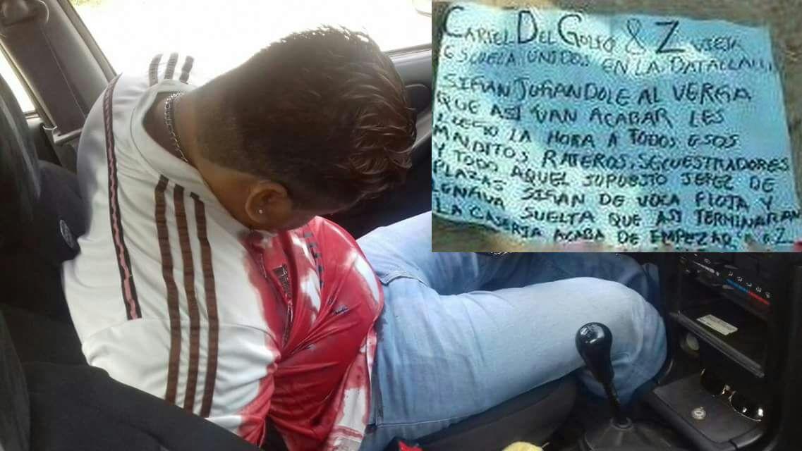 """Fotos, """"Sigan jugandole al verga que así van acabar todos"""", Sicarios de CDG y Zetas ejecutan a taxista secuestrador"""