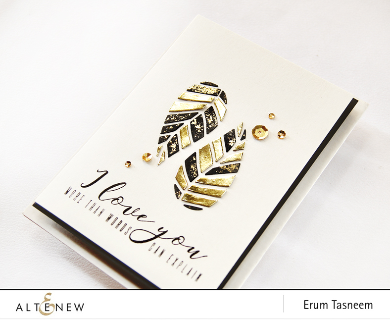 Altenew Striped Leaves Cover Die | More Than Words Stamp Set. Card by Erum Tasneem - @pr0digy0