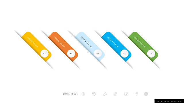 Icon and Number Options for 5 Step Infographics Slide 1
