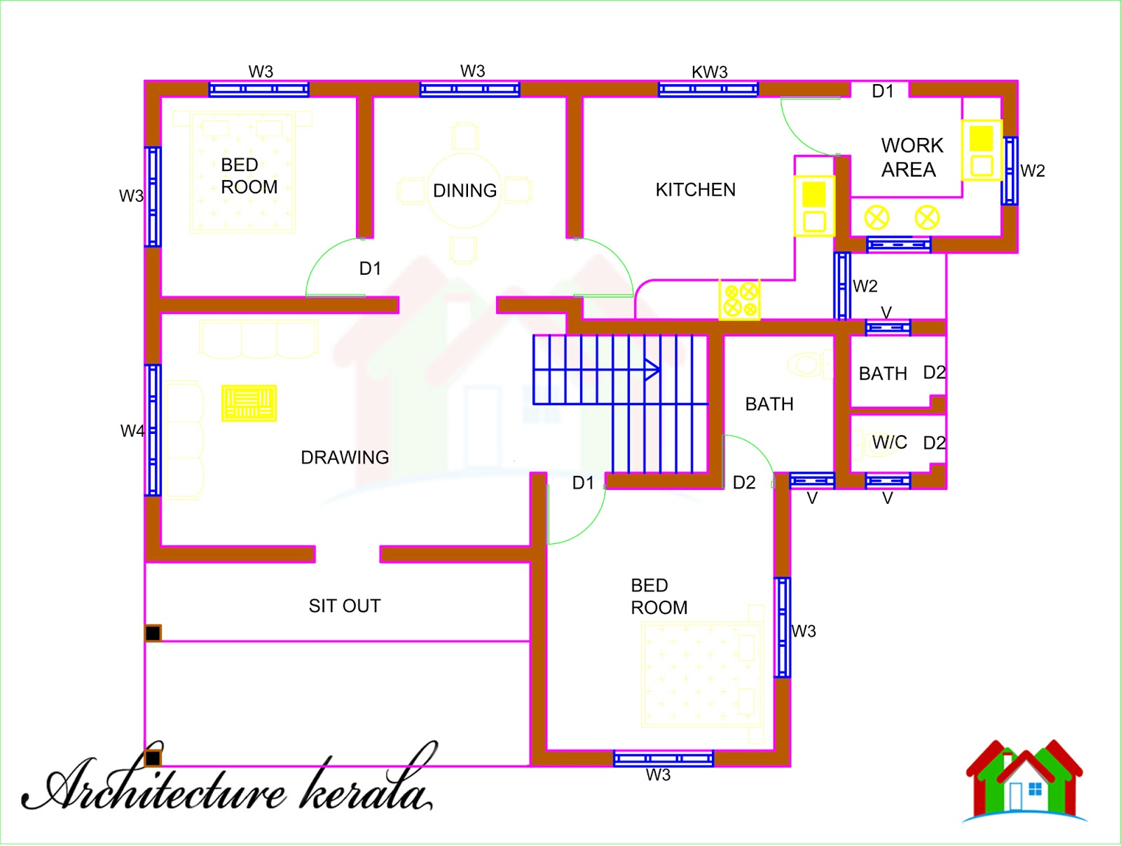 Architecture kerala 5 bedroom house plan and its for Kerala two bedroom house plans