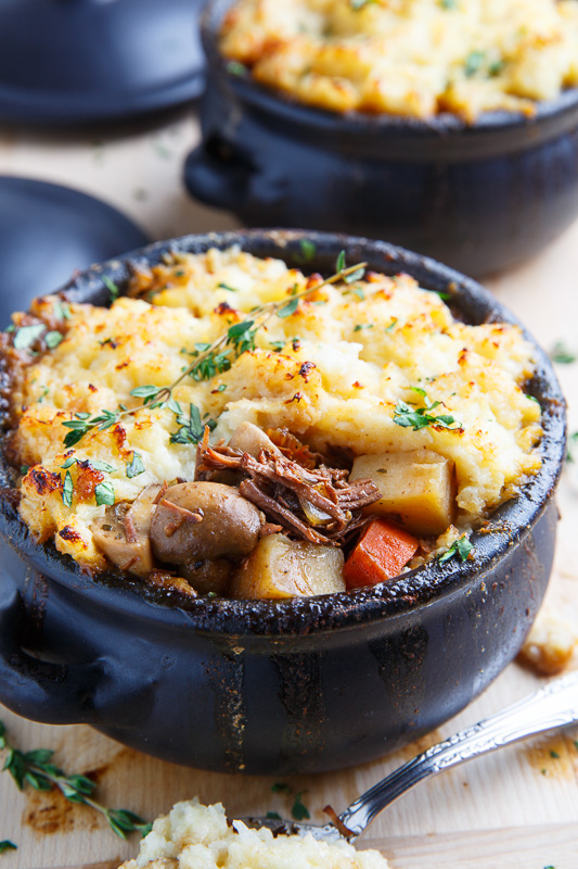 Steak and Guinness Stew with Irish White Cheddar Cauliflower Mash