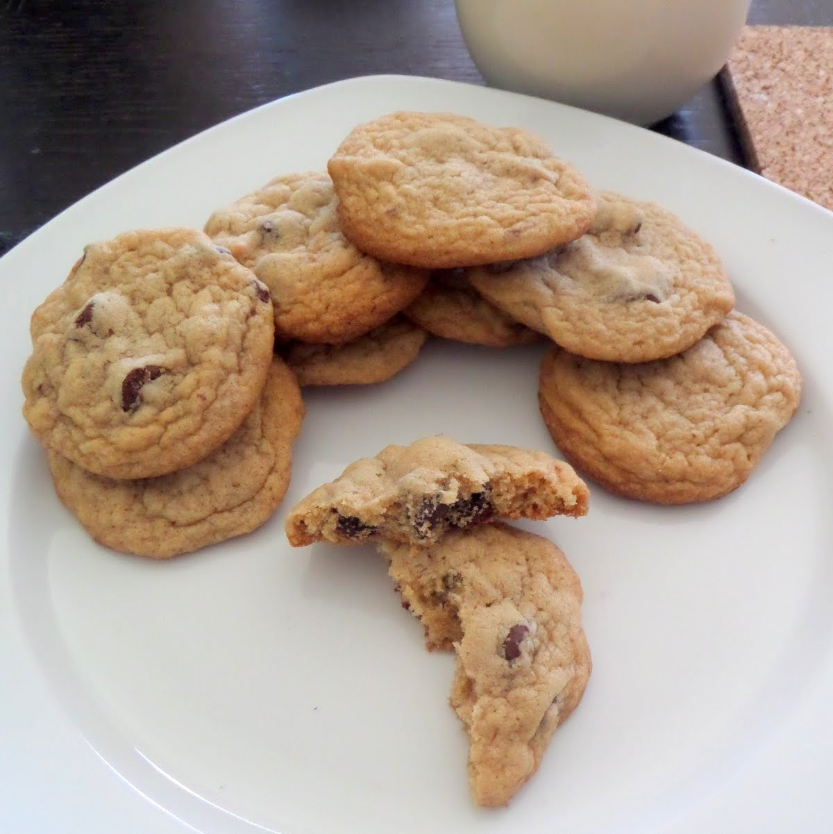 Chocolate Chip Cookies:  soft and chewy cookies studded with semisweet chocolate chips.
