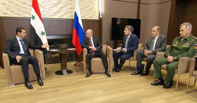 بالفيديو :لحظة استقبال الرئيس بوتين للرئيس بشار الأسد في سوتشي.
