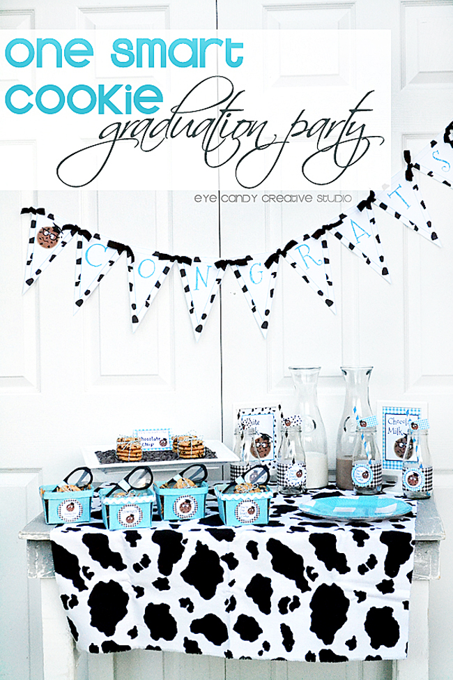 congrats grad, milk and cookies, nerd glasses, cow print, school party idea