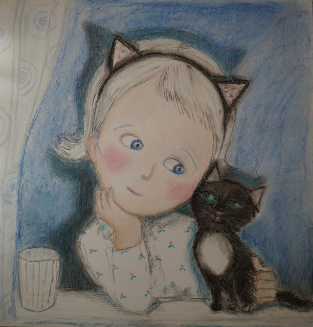 Hingesugulased pastell joonistus paberil must kass sinine ruum illustratsioon