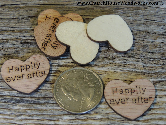 Happily Ever After Wood Heart Confetti For Rustic Weddings- Barn Weddings, Country Weddings, Farm Weddings- Table Decorations