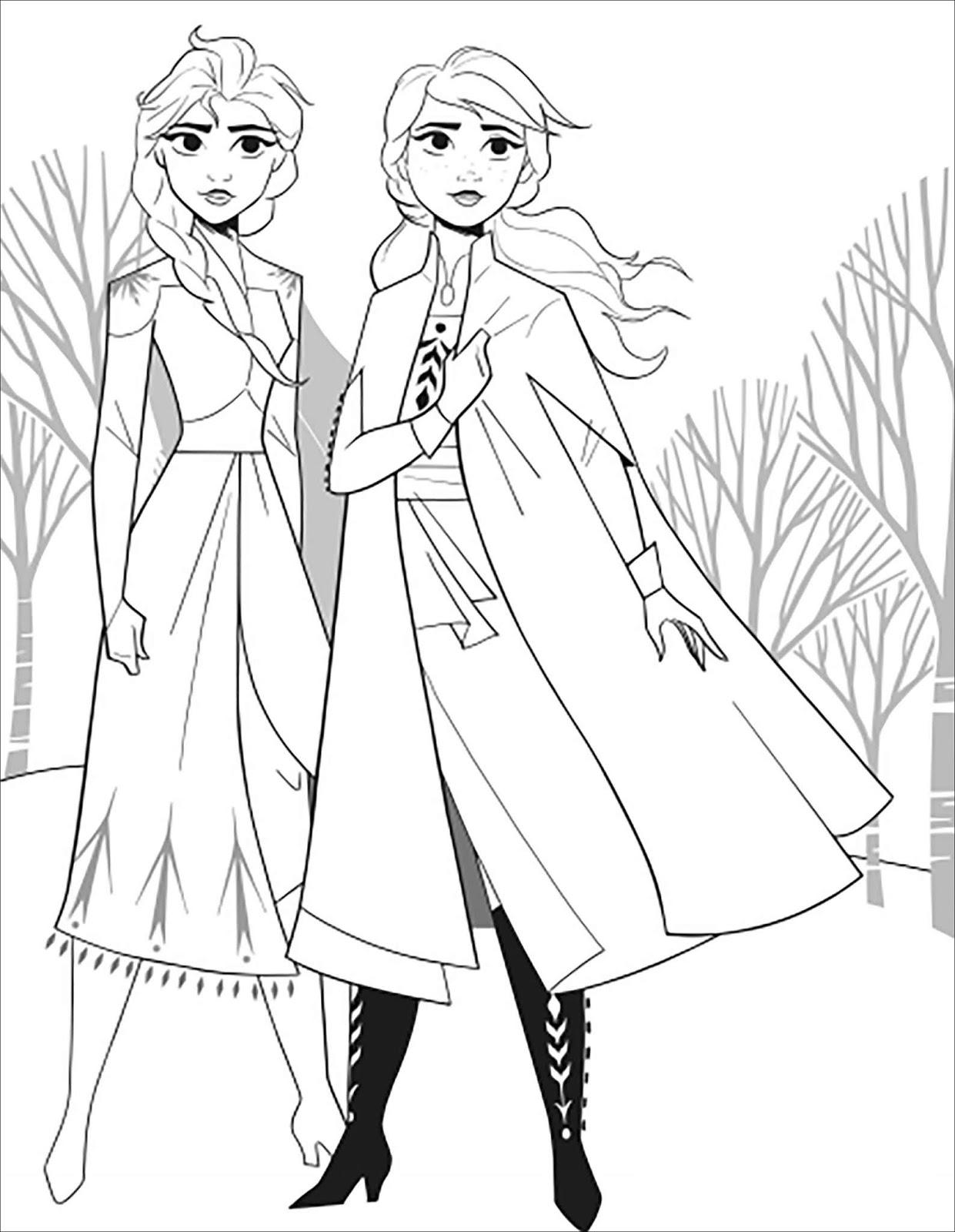 Tranh tô màu Elsa và Anna 23