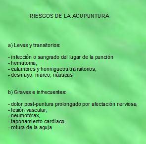 Riesgos de la Acupuntura. Fuente: Integra Salud Talavera