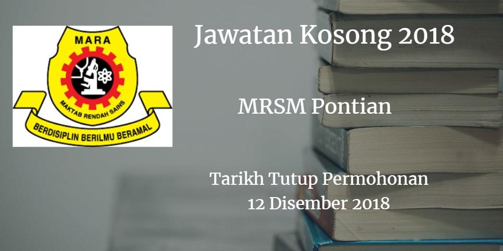 Jawatan Kosong MRSM Pontian 12 Disember 2018