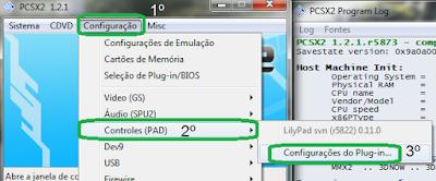 Abrindo a tela de configuração de controle do PCSX2