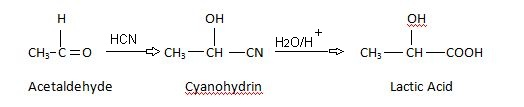 Lactic Acid Preparation By the hydrolysis of acetaldehyde cyanohydrin.