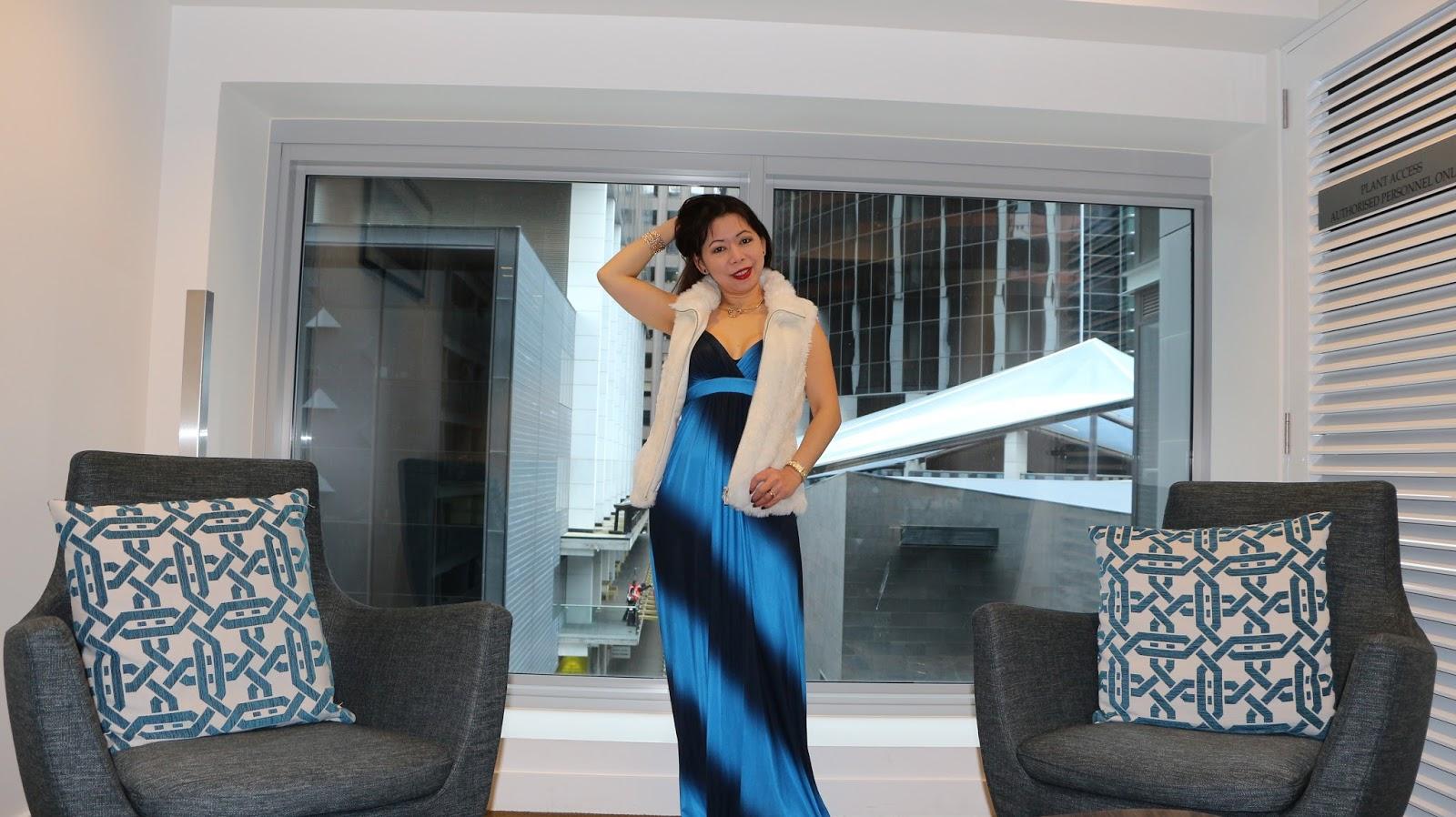 Black and blue maxi dress
