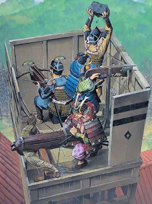samurai on turret using crossbow