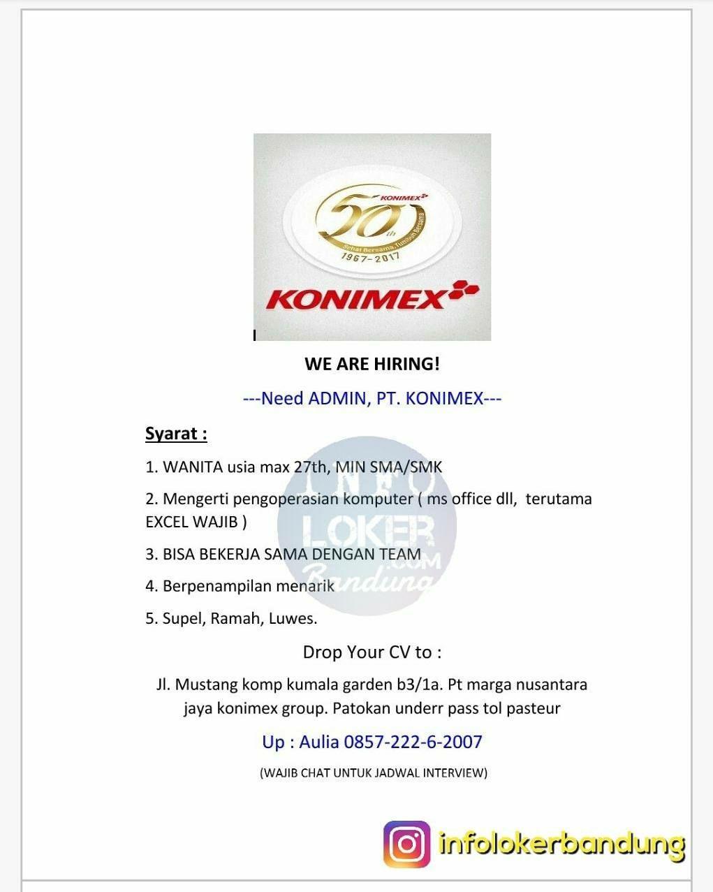 Lowongan Kerja Staff Admin PT. Konimex Bandung November 2017