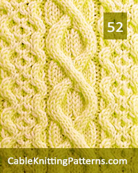 Cable Panel 52. Knit with 45 stitches and 16-row repeat. Techniques used: 2/2 right cross, 2/2 left cross, 1/1 right cross, 1/1 left cross. 3/1/3 left purl cross.
