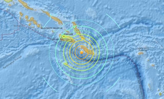 Um terremoto de magnitude 7.7 atingiu as Ilhas Salomão na madrugada de sexta-feira (9, horário local)