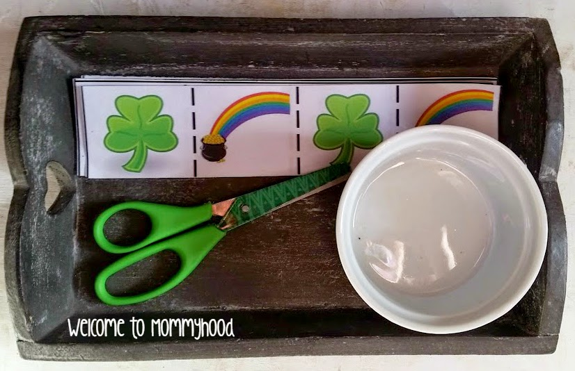 Saint Patrick's Day Cutting Practice, {Welcome to Mommyhood} #stpatricksdayprintables, #toddleractivities, #montessoritoddleractivities