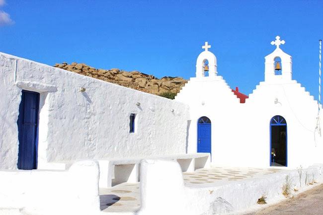 Mykonos white and blue churches