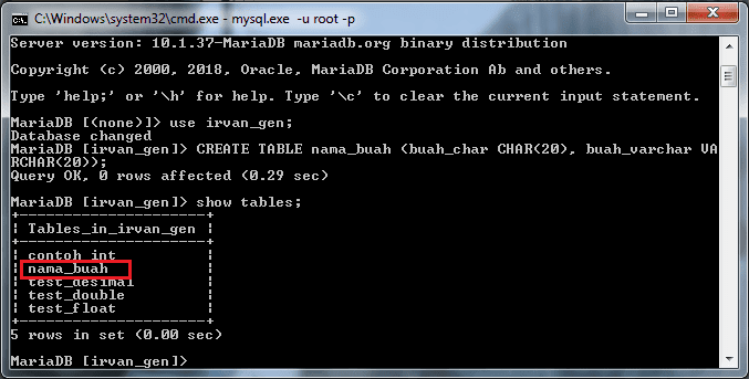 Menampilkan seluruh tabel yang ada di database irvan_gen