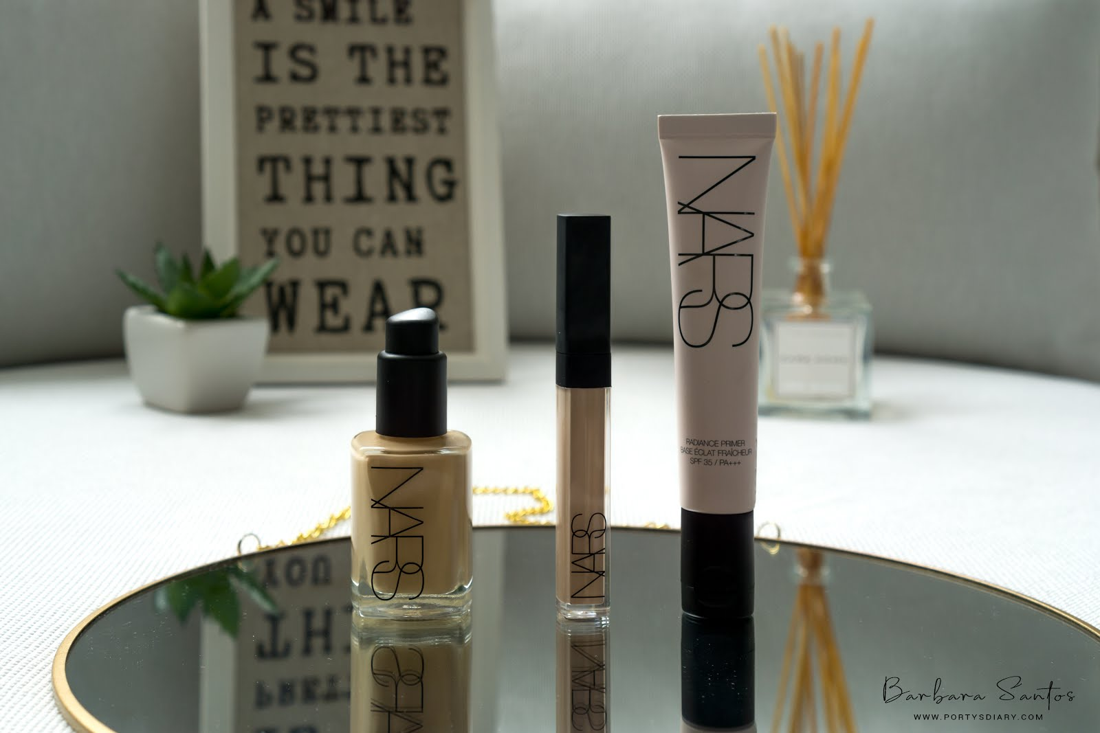 Beauty - Trying out NARS products for the first time. Read my First impressions on these products. What does and does not work so well for me and why. NARS Radiance Primer with SPF35, NARS Sheer Glow Foundation, NARS Radiant Creamy Concealer. All photos with Sony a6000 by Barbara Santos for www.portysdiary.com
