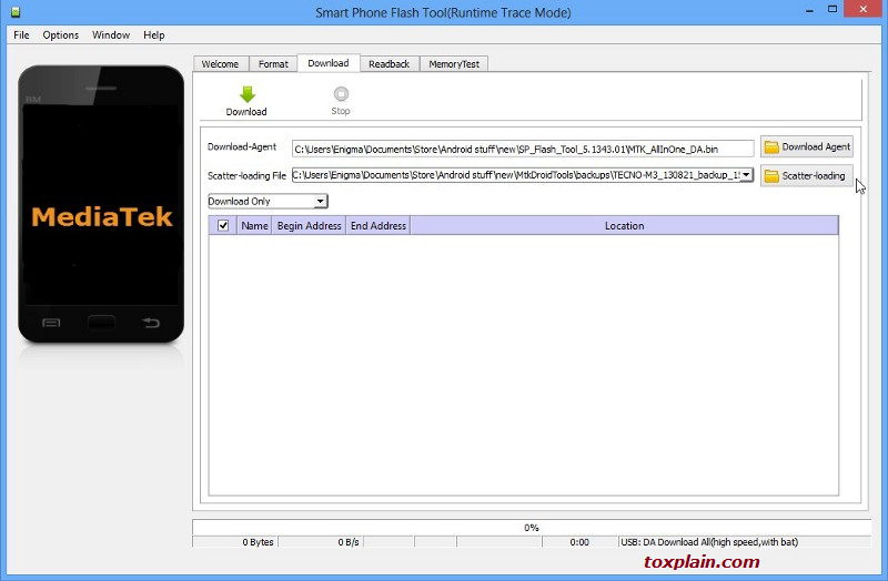 SP Flash Tool Download Scatter Loading Button