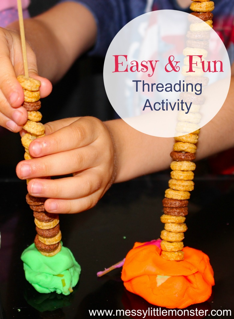 Fine motor pasta threading activity for kids. An easy and fun tower building challenge that works on fine motor skills.  Great for toddlers and preschoolers working on hand eye coordination and strengthening fingers ready for writing. Using just dried spaghetti, cheerios and playdough this challenge can be set up in minutes.