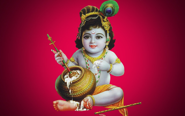 Lord Baby Krishna HD Wallpaper In Red Background