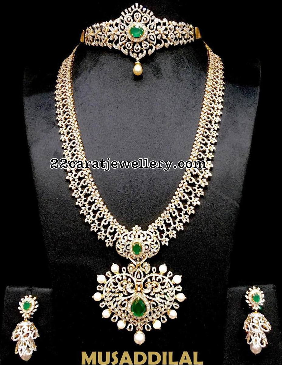 choker diamond jewellery designs musaddilal in long by set