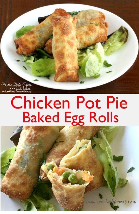 Chicken Pot Pie Baked Egg Rolls And Air Fryer Recipe