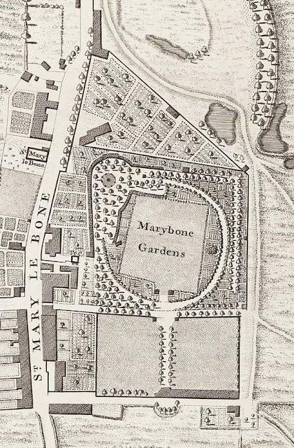 Détail du plan de John Rocque (1746): Marylebone Gardens