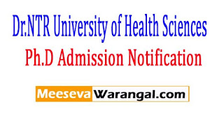 NTRUHS Ph.D Admission Notification 2017