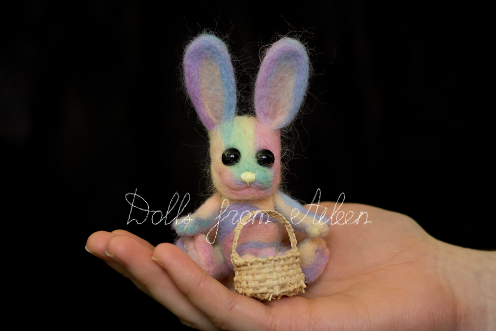 ooak needle felted Easter bunny sitting on human hand